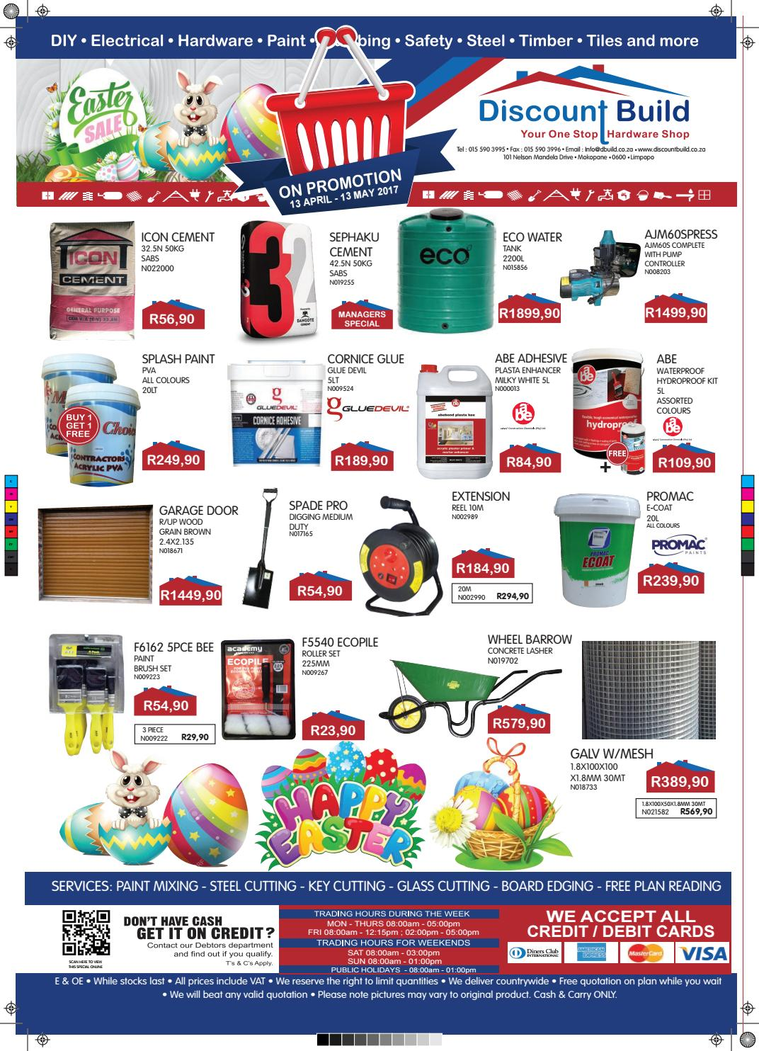 Discount Build Mokopane Easter Promotion By E H Hassim