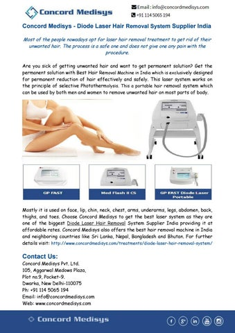Diode Laser Hair Removal System Supplier India By Concord Medisys