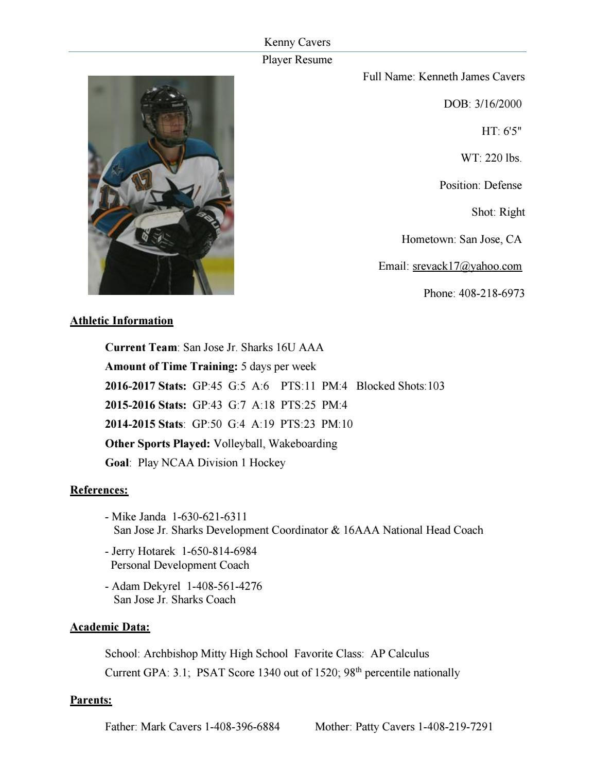 kenneth cavers hockey resume by strength edge athletics