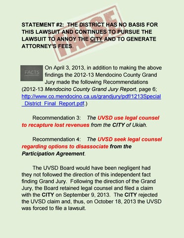 Statement 2 The District Has No Basis For This Lawsuit And
