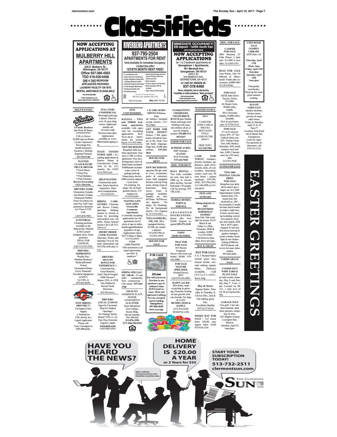 Clermont Sun Classifieds - April 13, 2017 by Clermont Sun Publishing