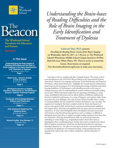 How Science Is Rewiring Dyslexic Brain >> The Beacon Spring 2017 By The Windward School Issuu
