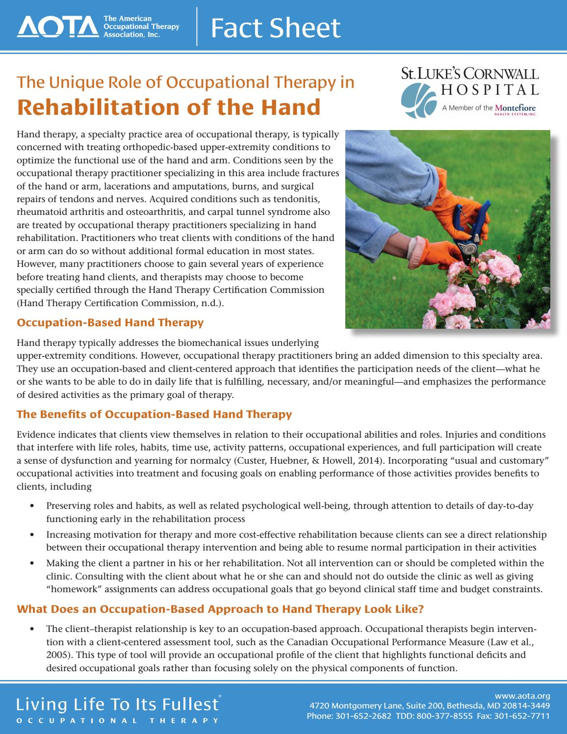 Aota Hand Therapy Fact Sheet By St Lukes Cornwall Hospital Issuu