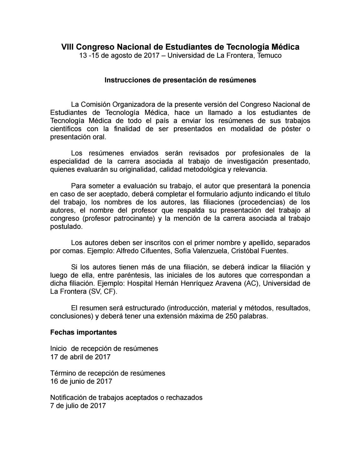 Bases Presentación de Resúmenes - VIII Congreso Científico de ...