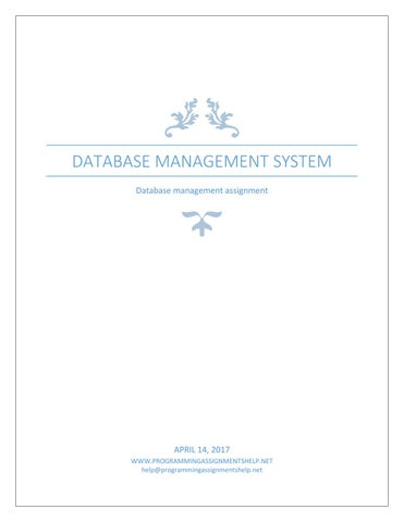 database management system assignment
