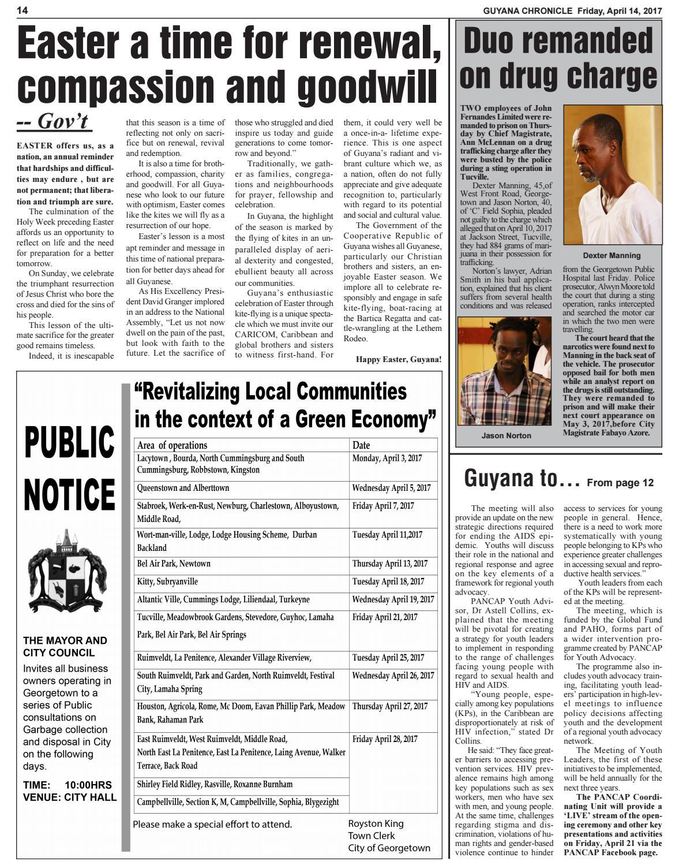 Guyana chronicle e paper 04 14 2017 by Guyana Chronicle E
