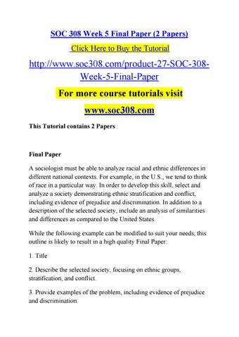 Soc 308 Week 5 Final Paper Soc308 By Fseww Issuu