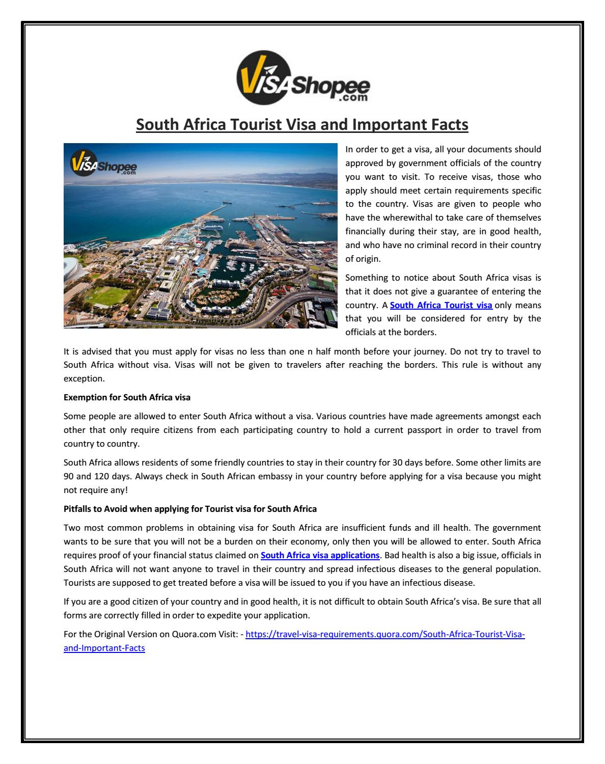 South Africa Tourist Visa And Important Facts By Visashopee Issuu