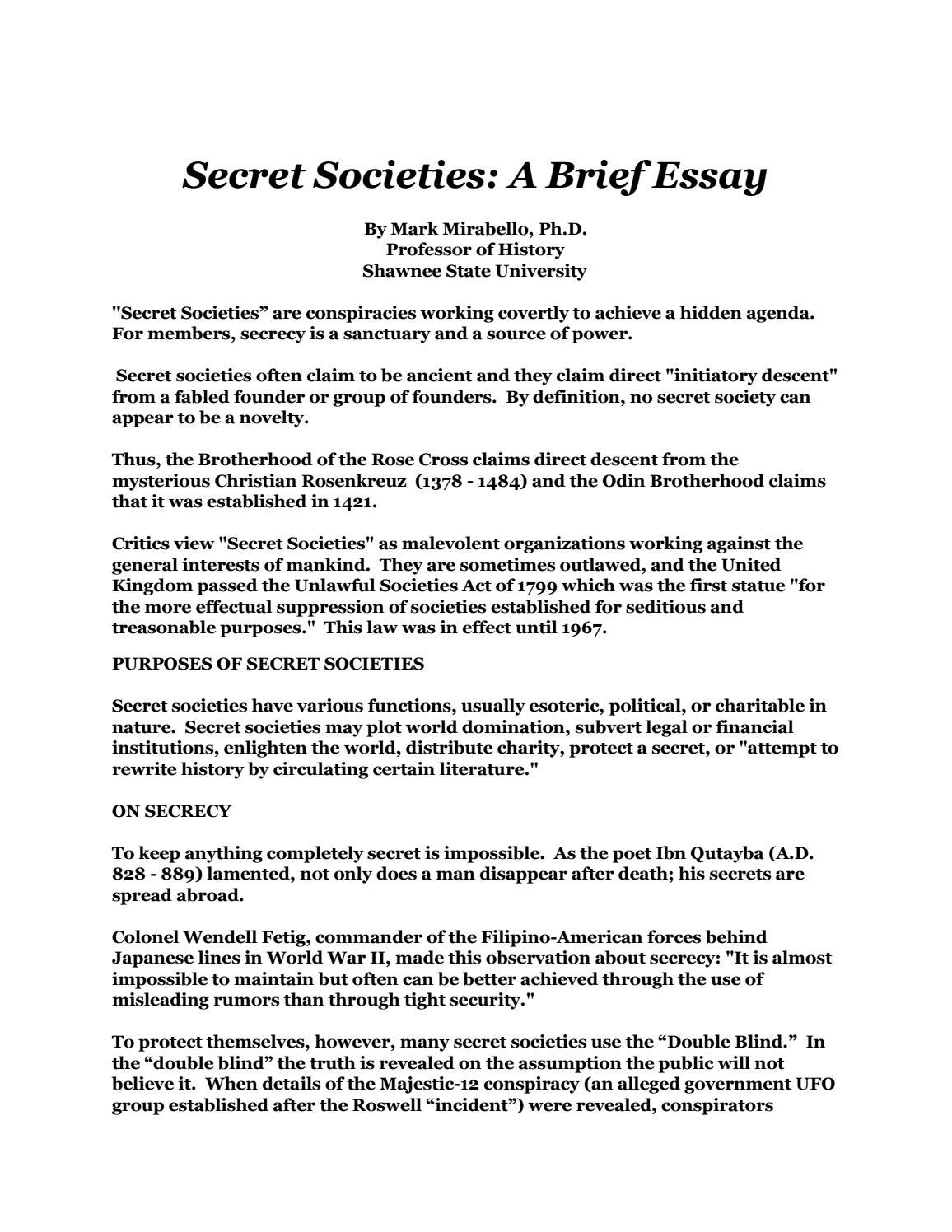 Secrecy essay
