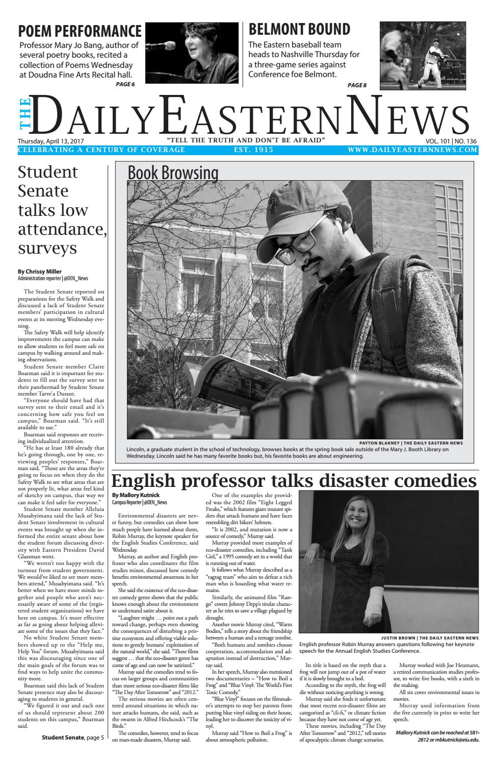 2017  04  13 by The Daily Eastern News - issuu