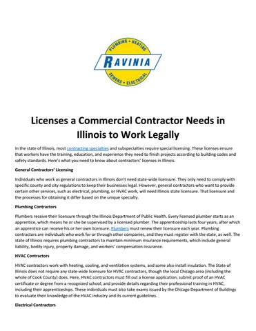 Licenses A Commercial Contractor Needs In Illinois To Work Legally