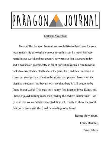 The Paragon Journal - Issue Seven by The Paragon Press - issuu
