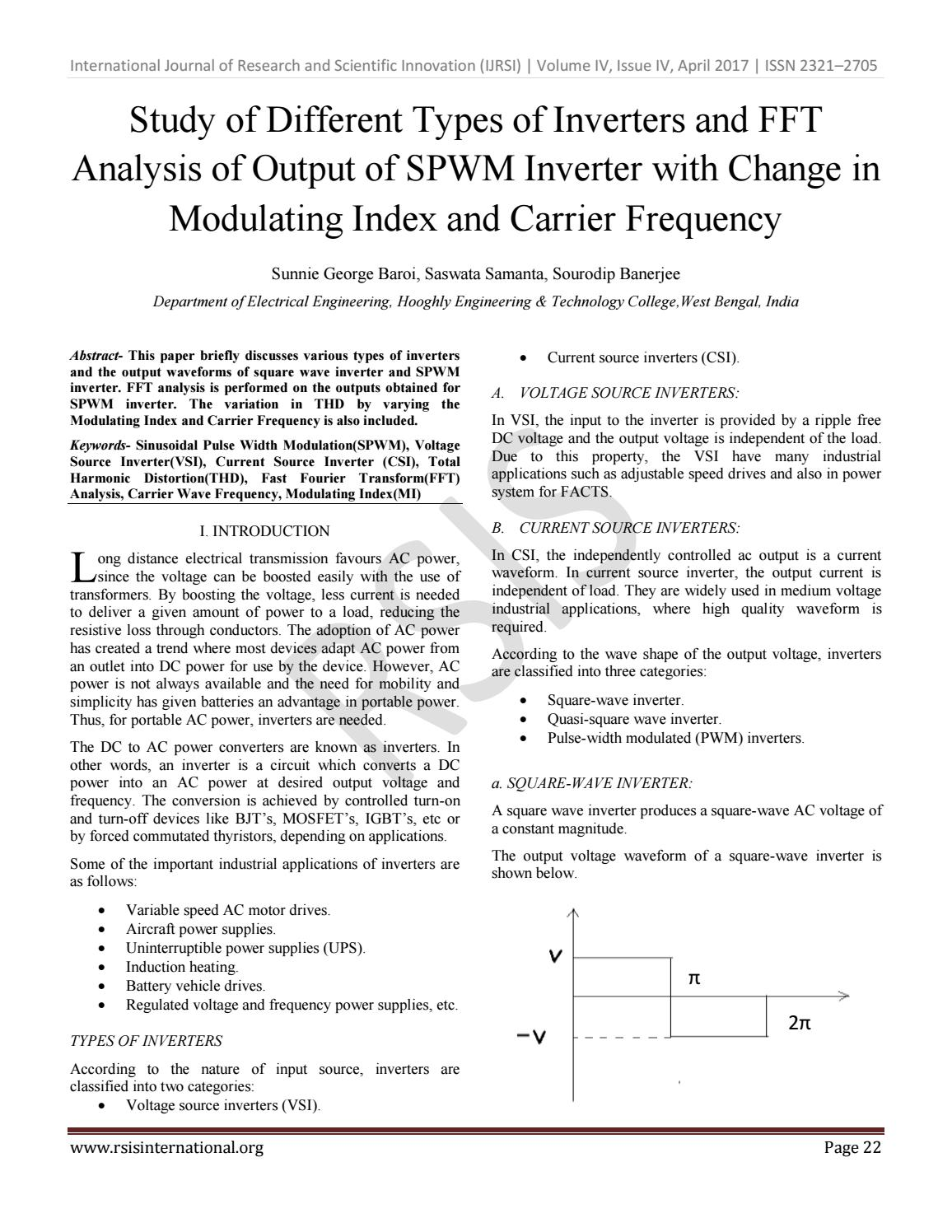 Study of Different Types of Inverters and FFT Analysis of