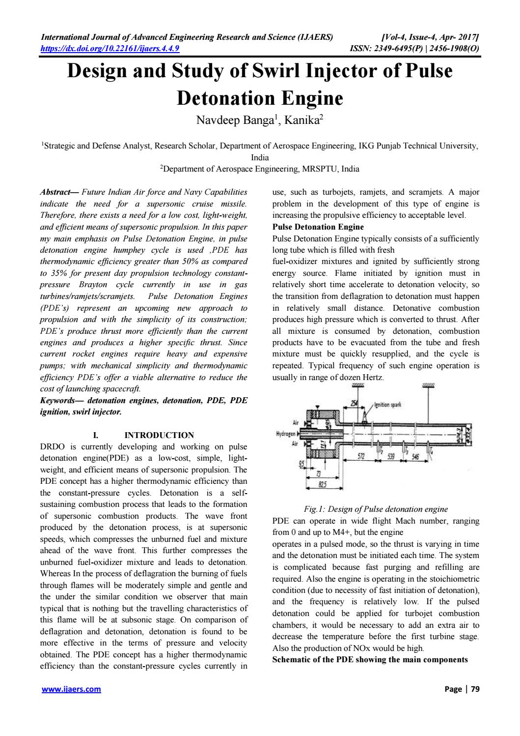 9 design and study of swirl injector of pulse detonation engine by