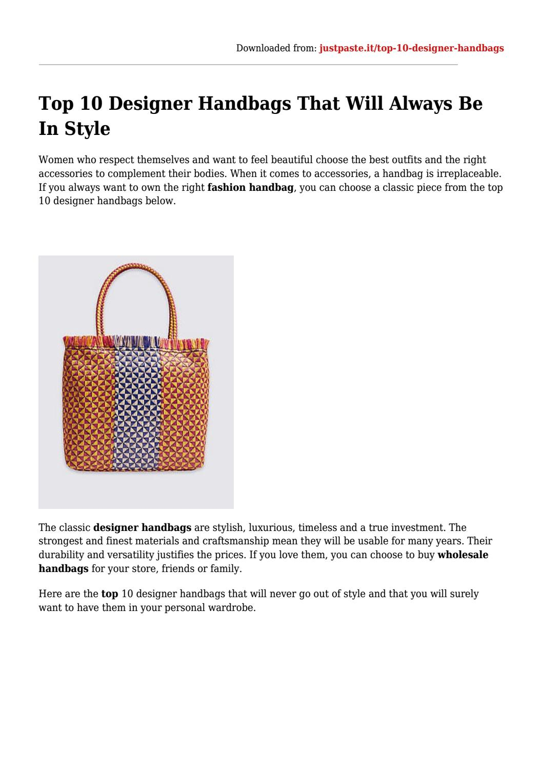 Top 10 Designer Handbags That Will Always Be In Style By Acess Issuu,Attractive Silk Saree Simple Embroidery Designs For Blouse