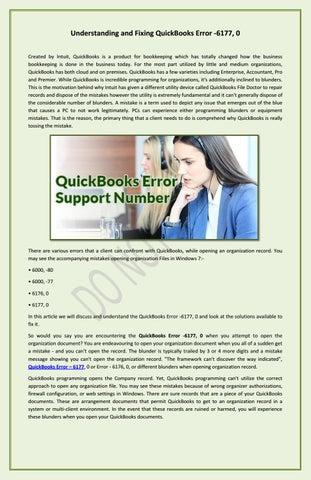 Understanding And Fixing QuickBooks Error -6177, 0 by Ajay Rude - issuu