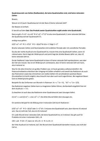 quadratwurzeln von zahlen radikanden die keine quadratzahlen sind sind keine rationalen zahlen beweis warum ist 2 auch quadratwurzel mit der basis - Irrationale Zahlen Beispiele