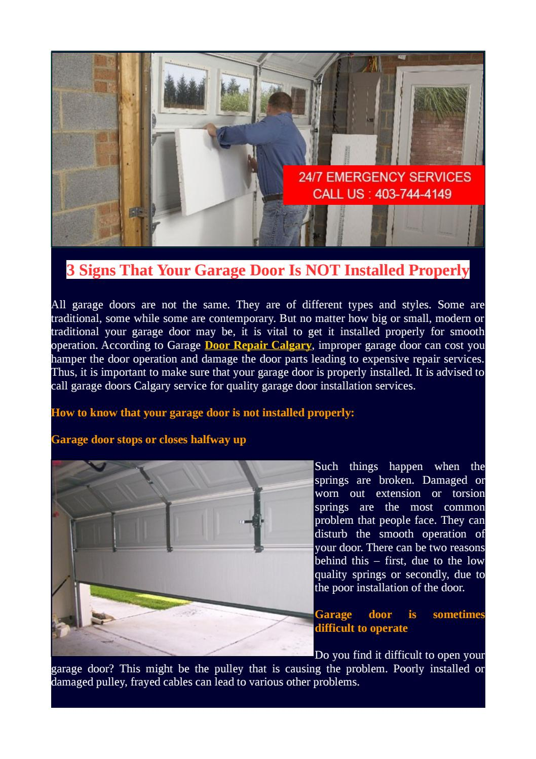 3 Signs That Your Garage Door Is Not Installed Properly By Garage