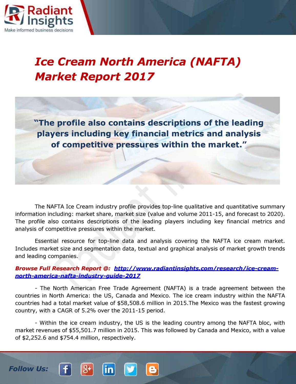 Ice Cream North America Nafta Industry Report 2017 By