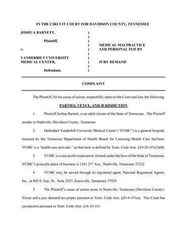 Barnett v Vanderbilt TN Medical Malpractice Lawsuit