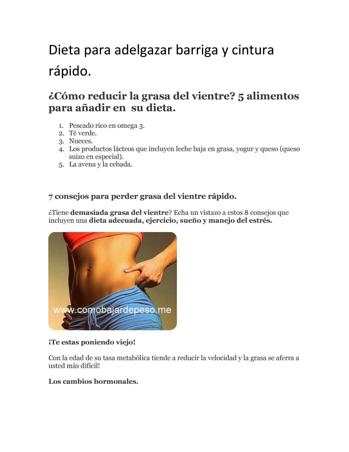 dietas para reducir abdomen y cintura