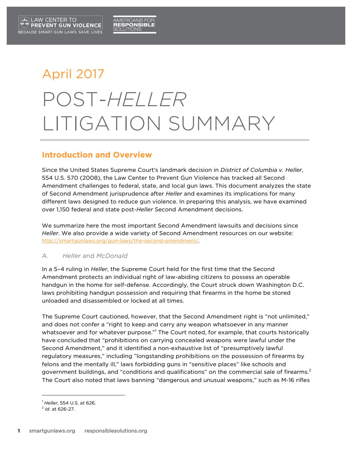 The second amendment issues - Post_heller_litigation_summary_ _20 2 Months Ago Lcav