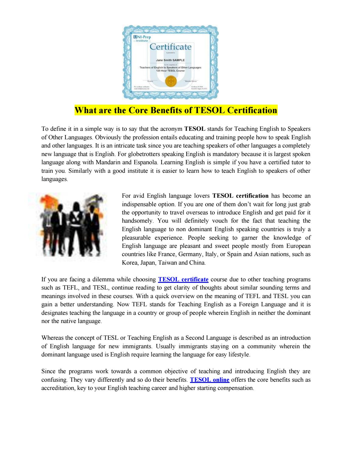 What Are The Core Benefits Of Tesol Certification By Uniprep Issuu