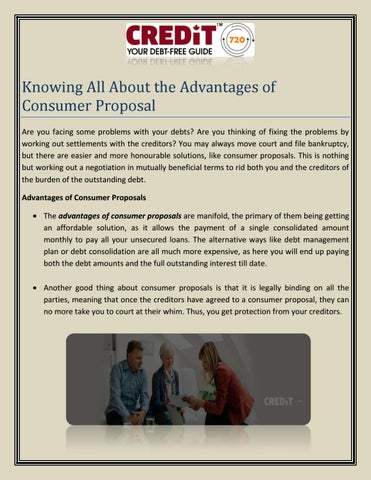 Knowing All About The Advantages Of Consumer Proposal By Alison