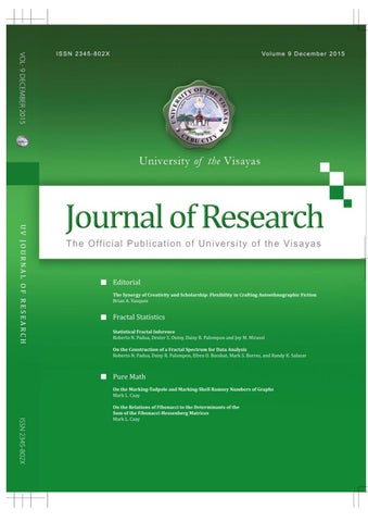 UV Journal Of Research Vol 9 December 2015 By University Of