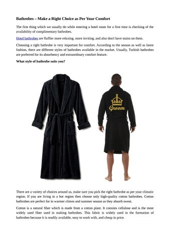 4db1ebd9635 Bathrobes â  x20AC   x201C  Make a Right Choice as Per Your Comfort The  first thing which we usually do while entering a hotel room for a first  time is ...