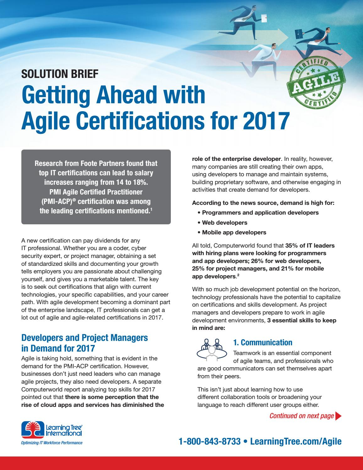 Getting Ahead With Agile Certifications For 2017 By Learningtree