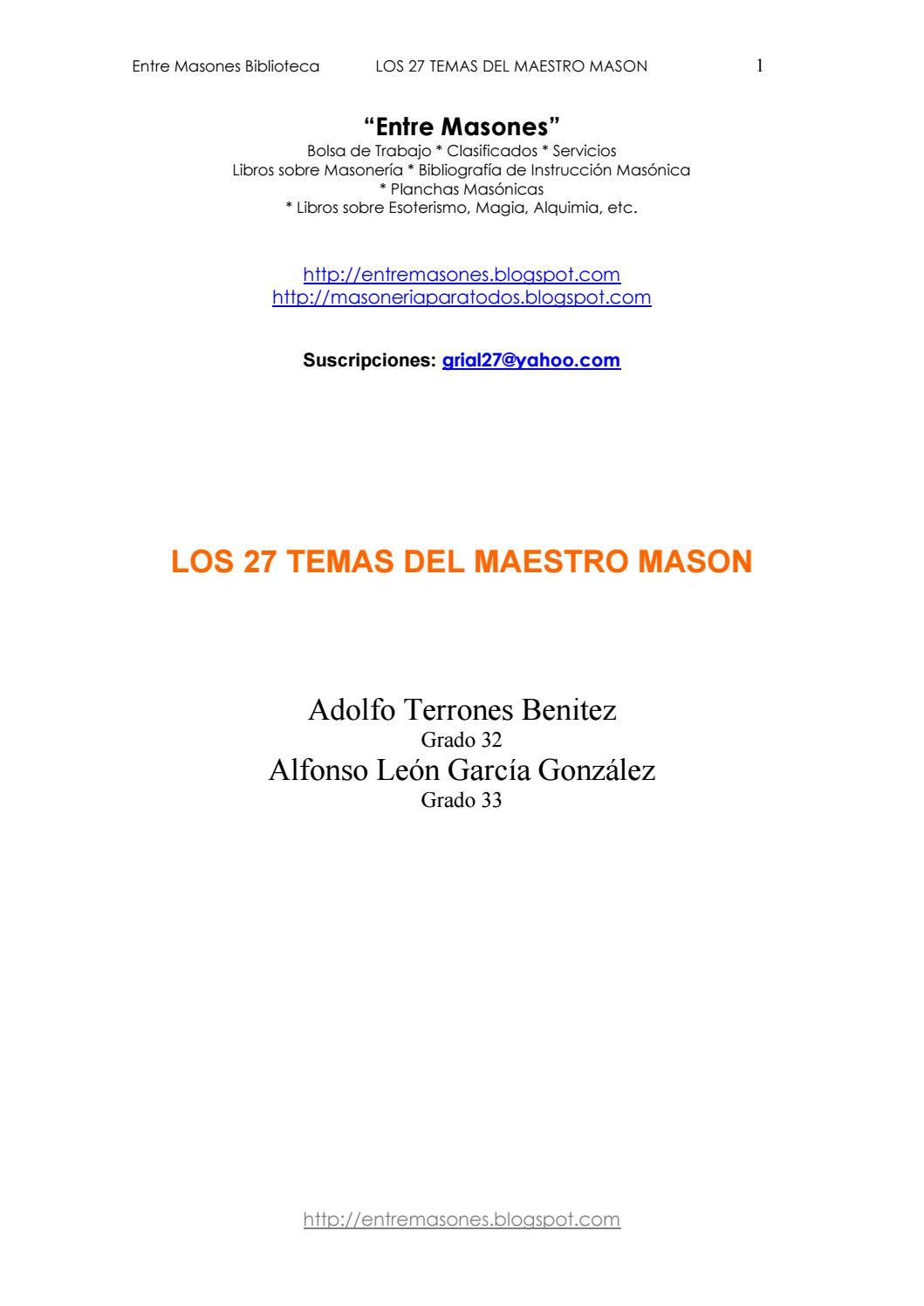 03. Los 27 Temas Del Maestro Masón by frater aureus - issuu