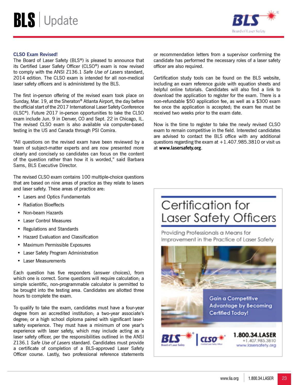 LIA TODAY - March/April 2017 Issue by Laser Institute of America - issuu