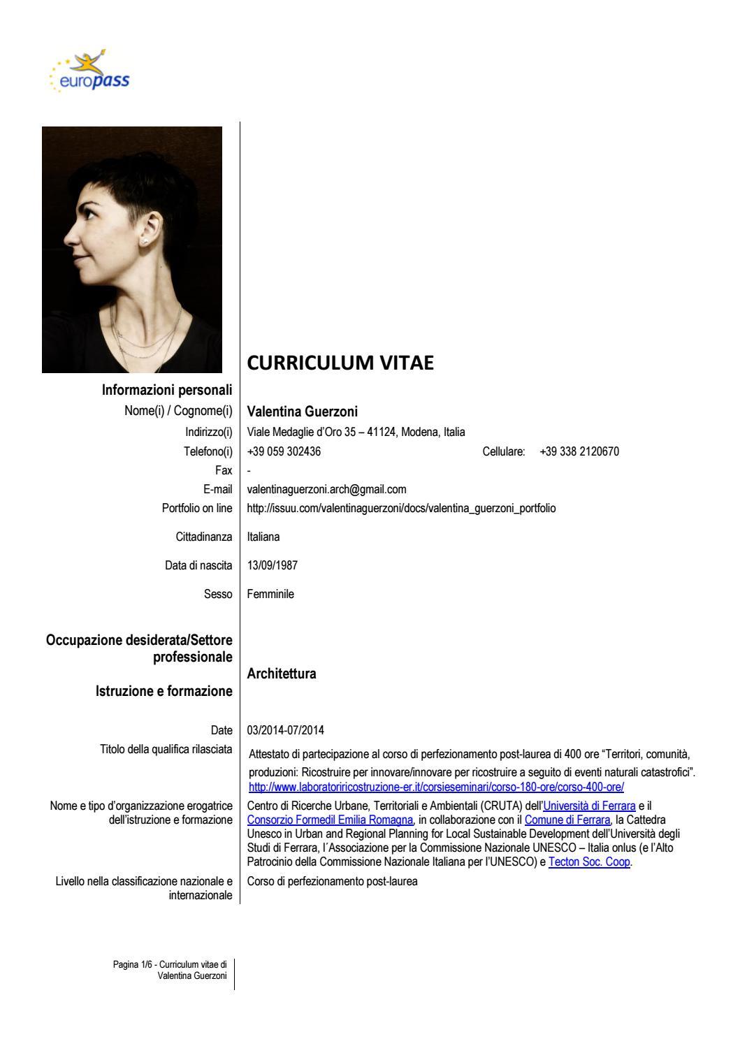 VALENTINA GUERZONI CURRICULUM VITAE By Valentina Guerzoni Issuu