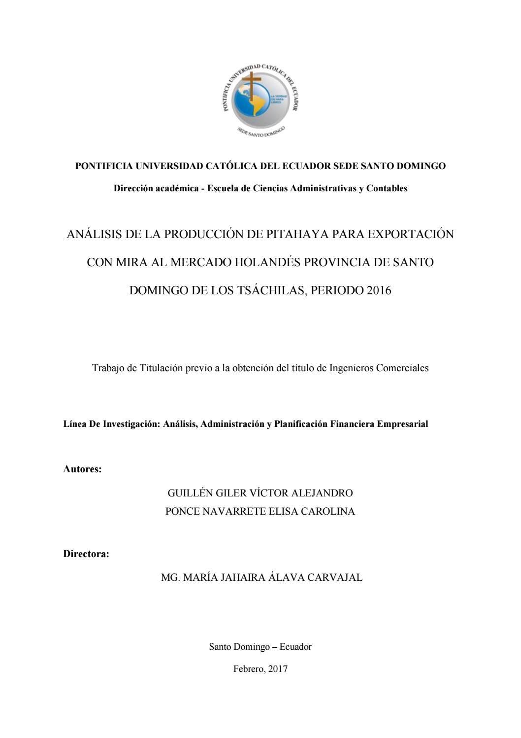 Análisis De La Producción De Pitahaya Para Exportación Con