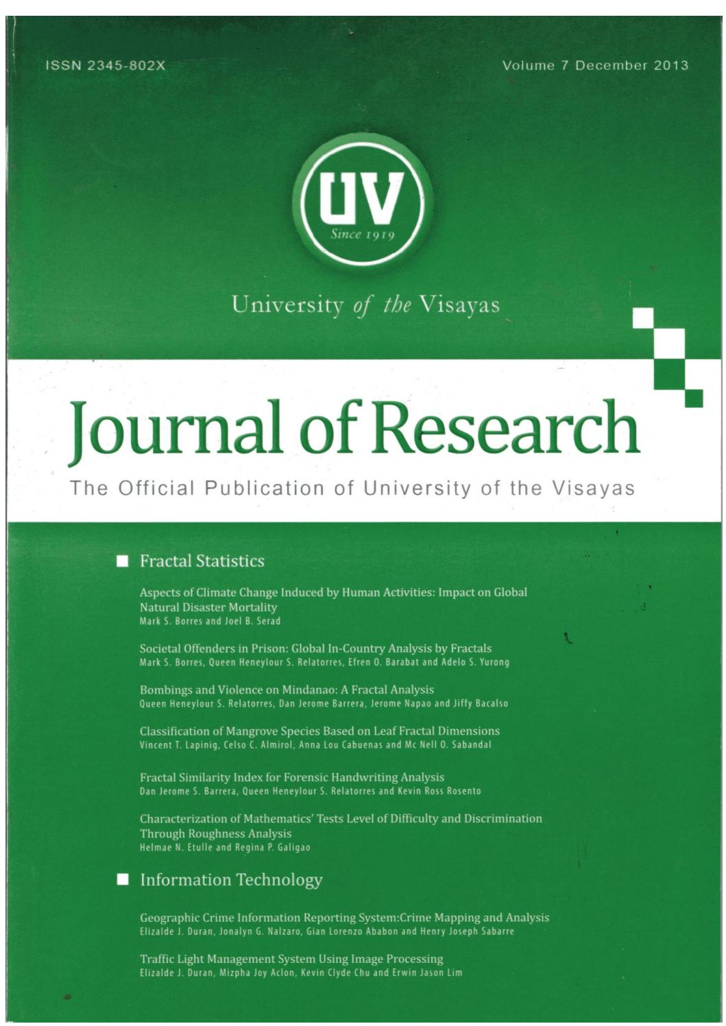 Uv journal of research vol7 december 2013 by university of the uv journal of research vol7 december 2013 by university of the visayas center for research and development issuu biocorpaavc Choice Image