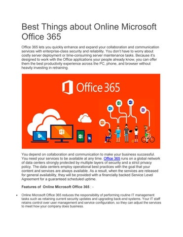 Best Things about Online Microsoft Office 365 by Kavya Singh