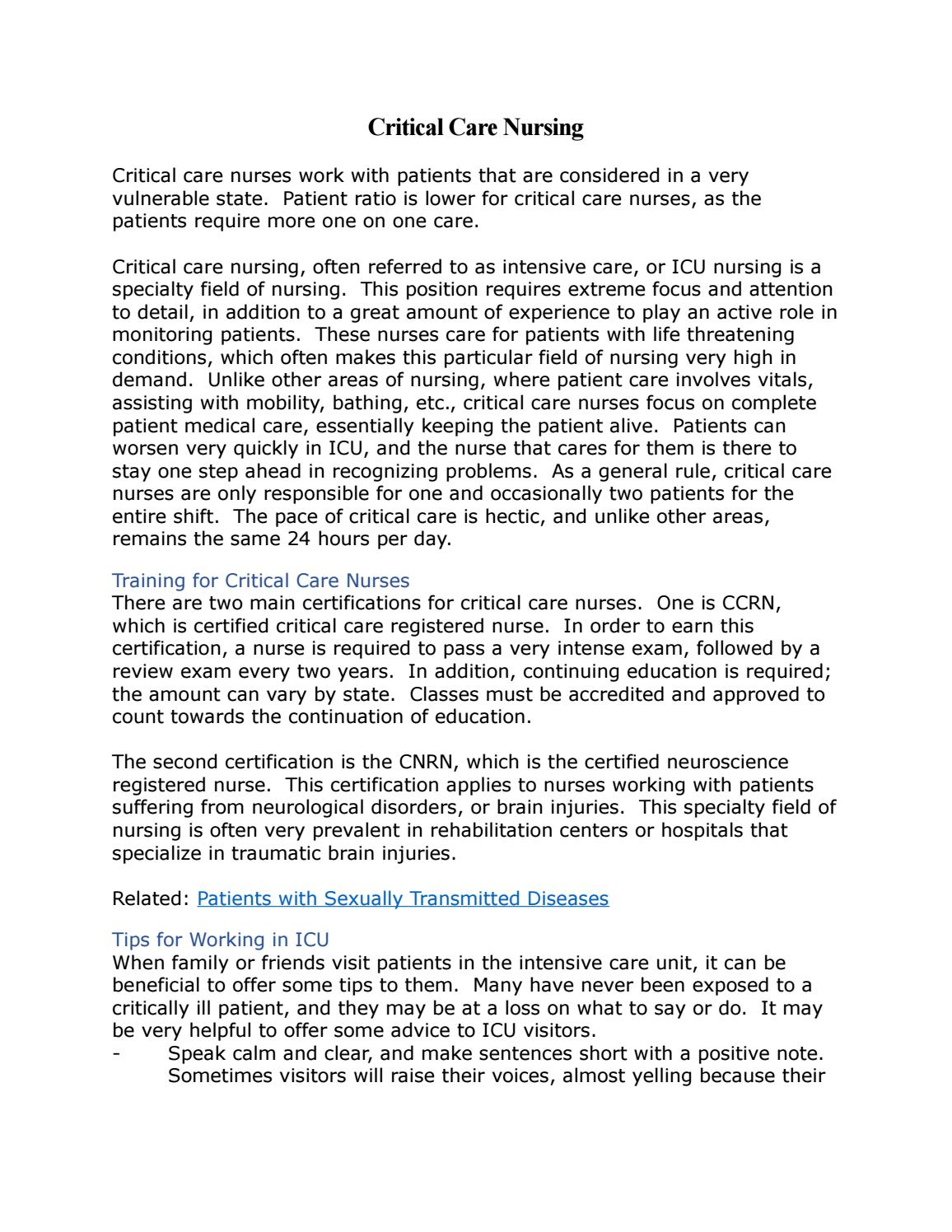 Critical Care Nursing By International Nurses Association Issuu