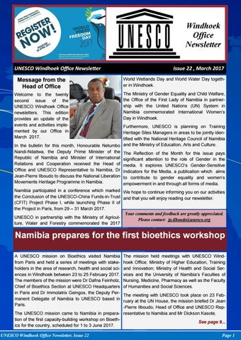 Unesco Windhoek Newsletter Issue  March By Joseph Clymax