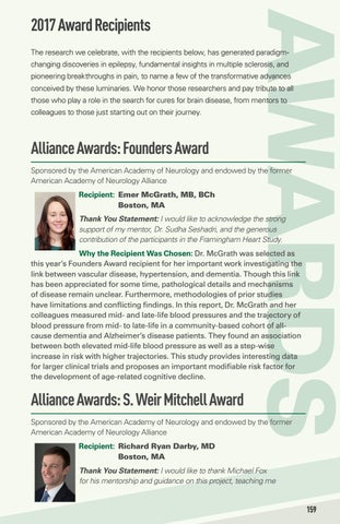 2017 Annual Meeting Awards Listing by American Academy of