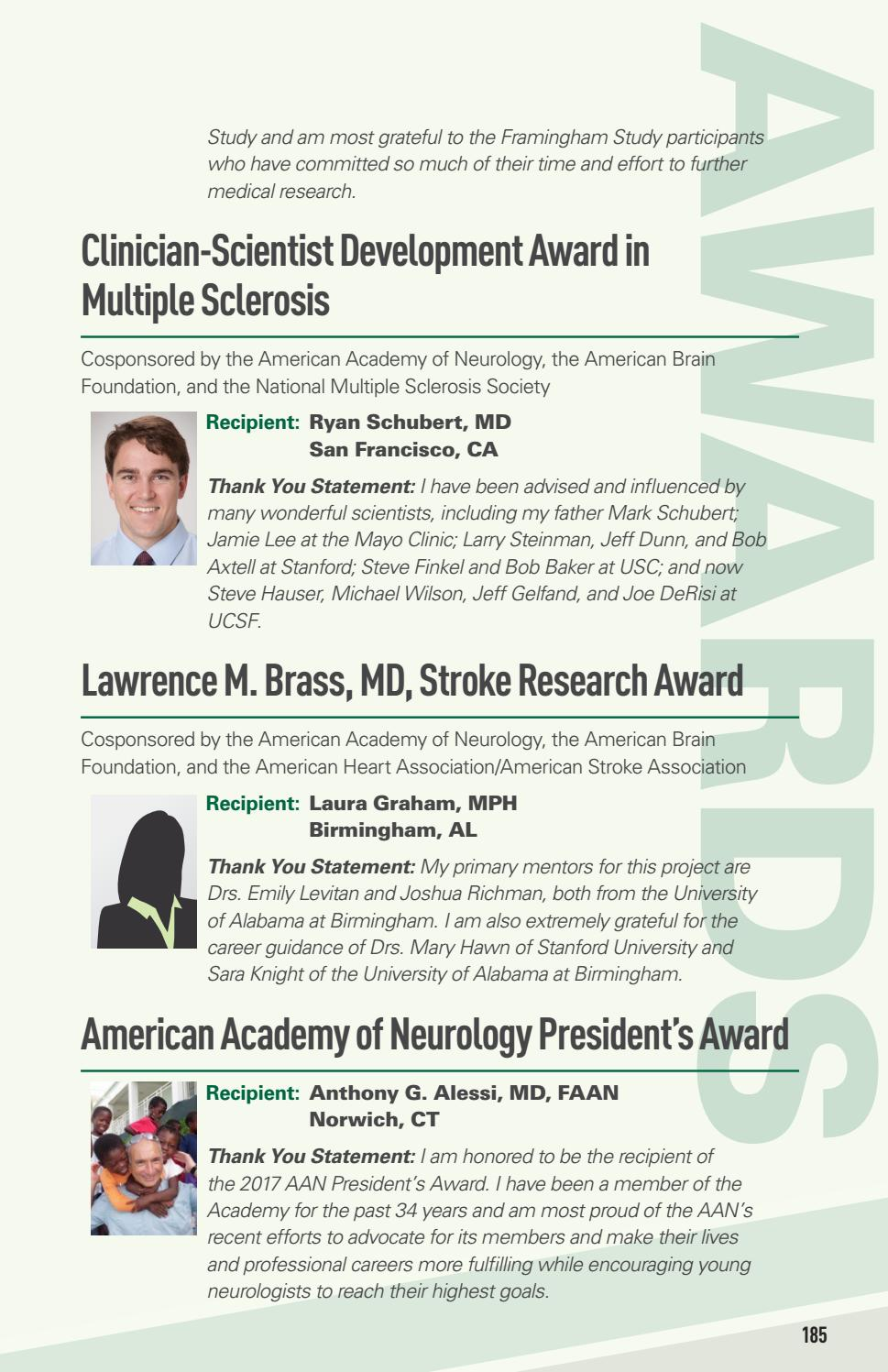 2017 Annual Meeting Awards Listing by American Academy of Neurology