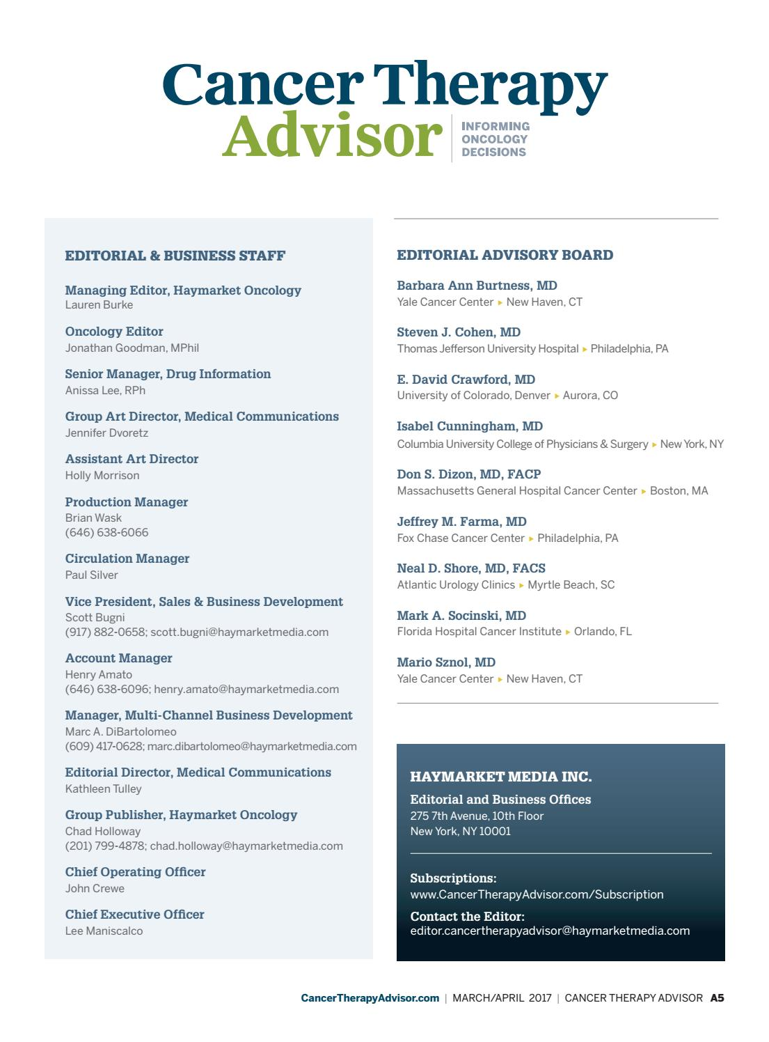 Cancer Therapy Advisor March/April 2017 Issue