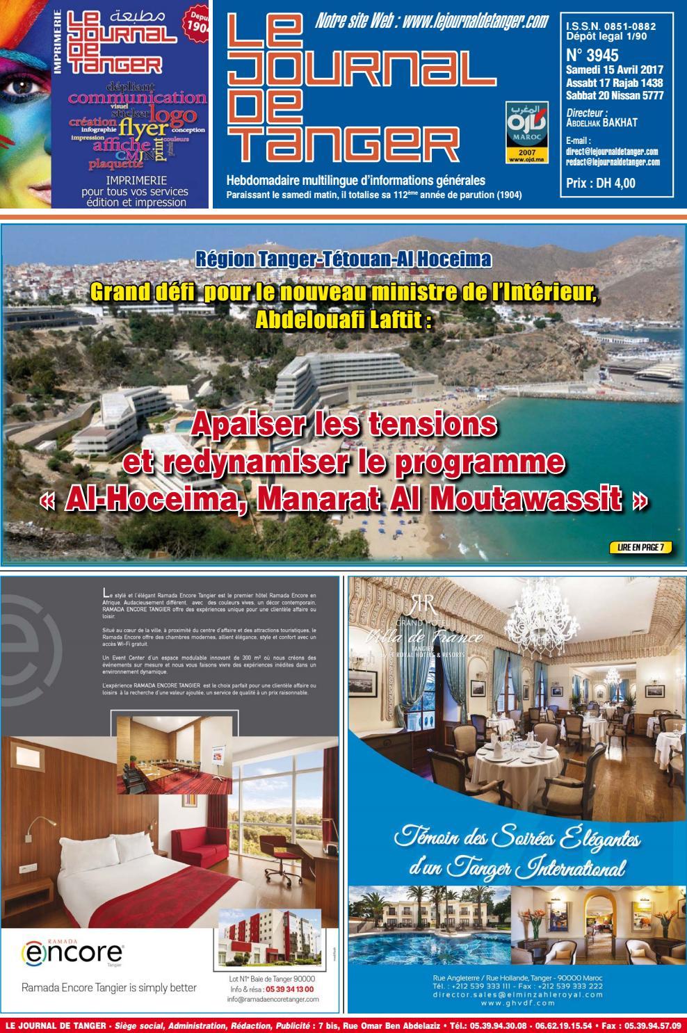 Le Journal De Tanger 15 Avril 2017 By Le Journal De Tanger