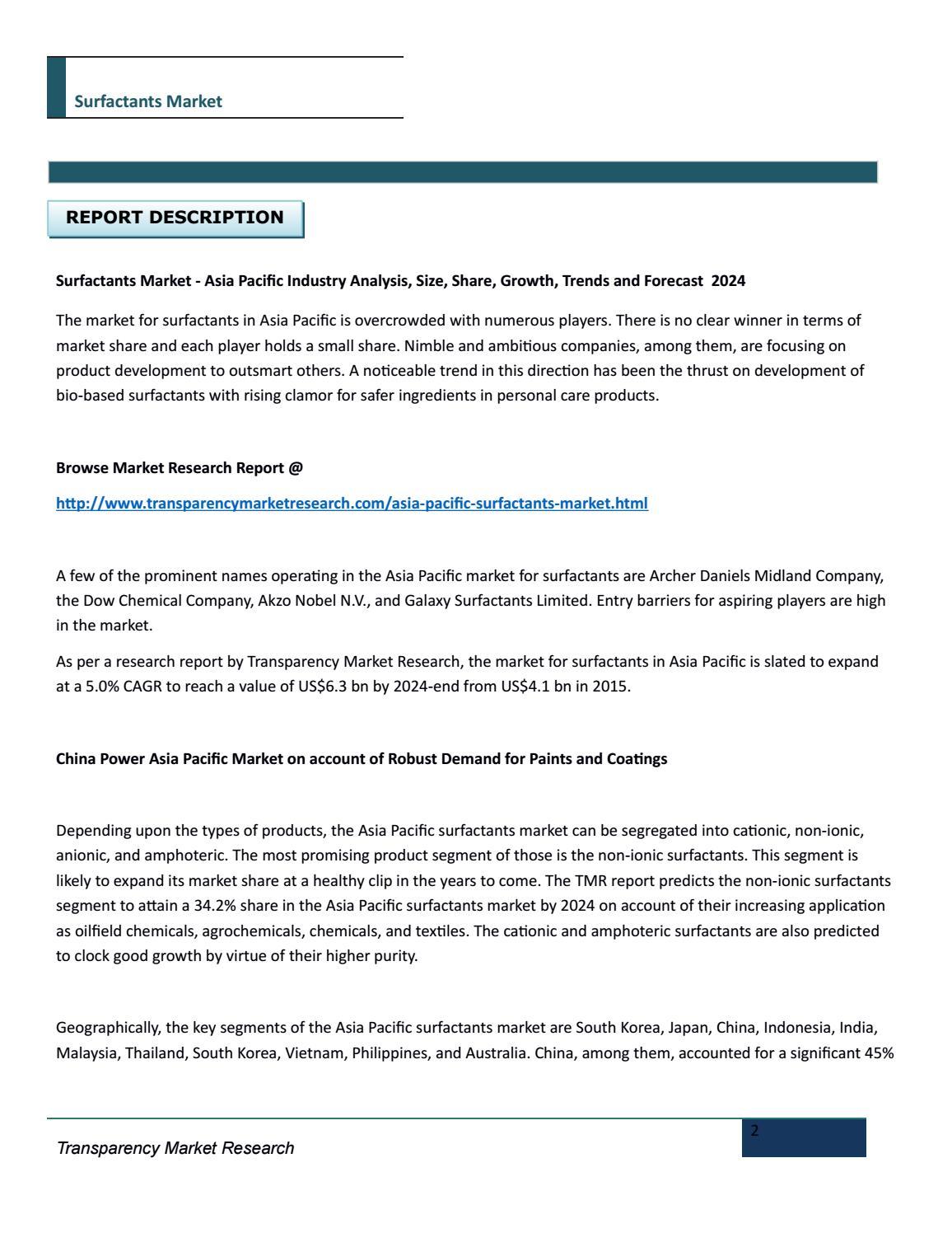 Surfactants market by omkartmr - issuu
