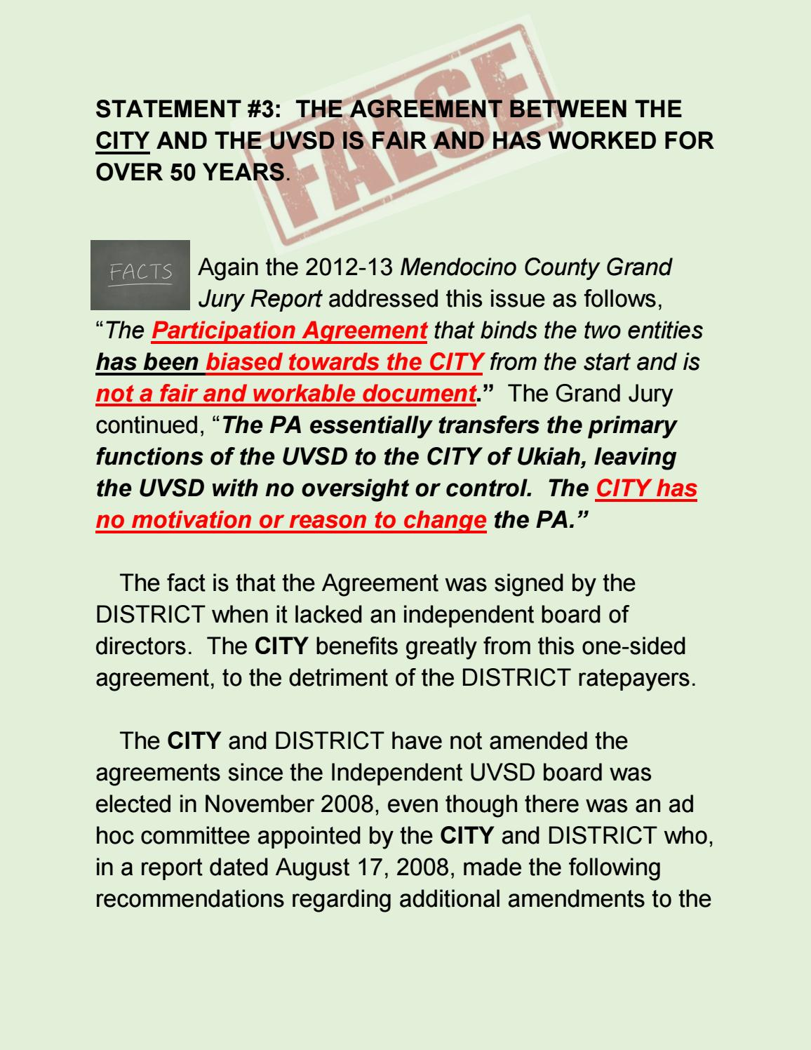 The Agreement Between The City And The Uvsd Is Fair And Has Worked