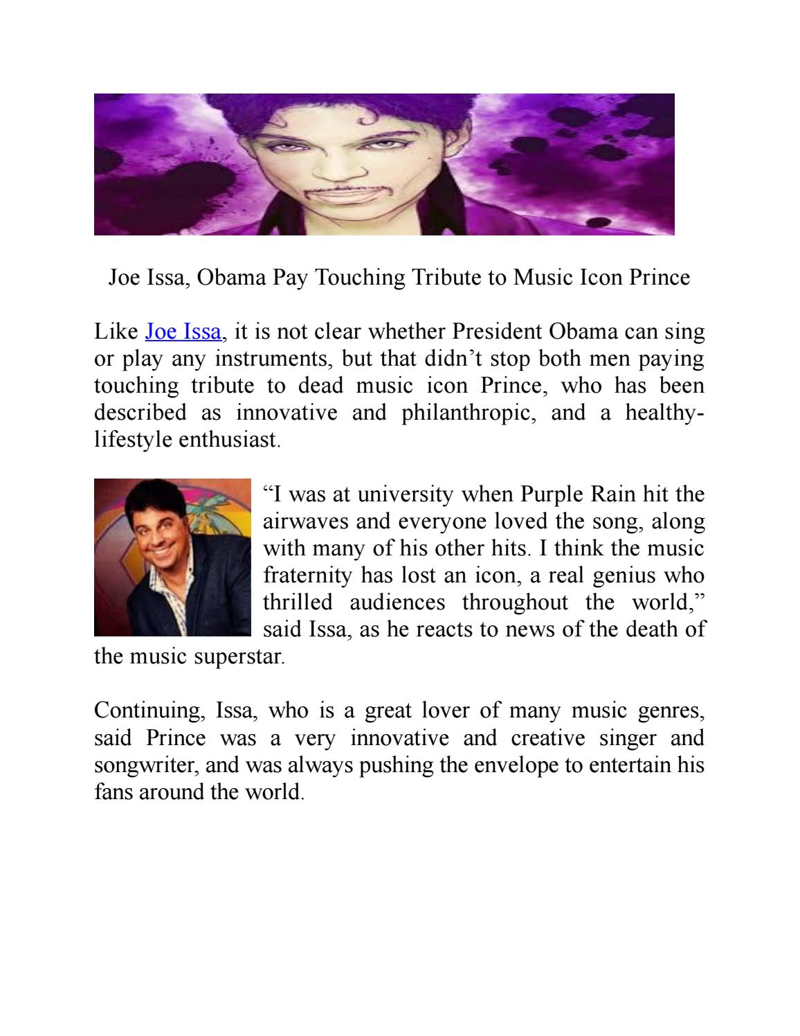 Joe Issa, Obama Pay Touching Tribute to Music Icon Prince by