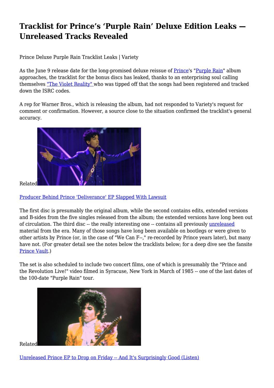 Tracklist for Prince's 'Purple Rain' Deluxe Edition Leaks