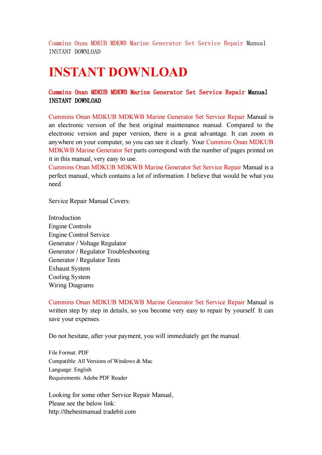 Cummins Onan Mdkub Mdkwb Marine Generator Set Service Repair Manual Wiring Diagrams Instant Download By Kjjsefhsjef Issuu