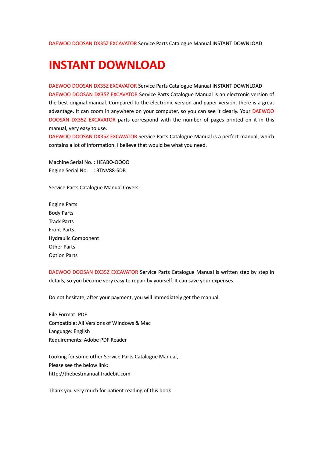 Daewoo doosan dx35z excavator service parts catalogue manual instant  download by kjjsefhsjef - issuu
