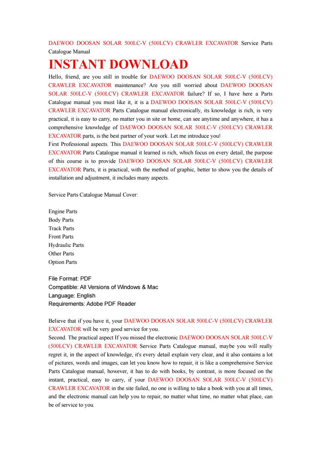 Daewoo doosan solar 500lc v (500lcv) crawler excavator service parts  catalogue manual by kjjsefhsjef - issuu